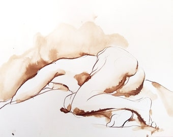 Sepia Toned Original Art, Figure Drawing, Reclining Female Nude from Behind, Ink on Paper, Dessin de Nu, Pen and Ink Art, Figurative Art