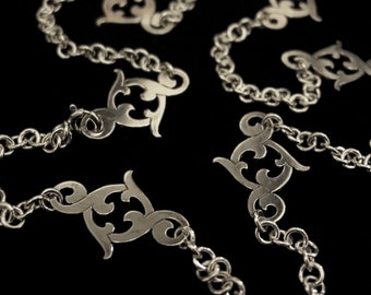 Sterling Silver Chain Link Necklace - Small Dainty Floral Flourish Joiners- CURLICUE GARLAND