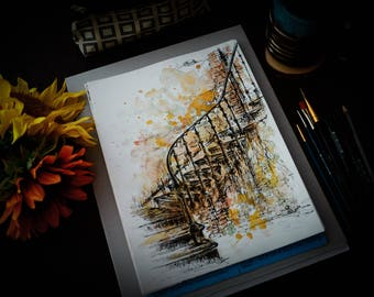 Old Staircase Watercolor and Black Ink Painting 2