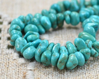 Magnesite Blue Green Extra Large Chips Natural Gemstone Beads 16 Inches