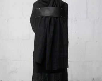 black linen Scarf,  leather scarves, Goth, long scarves, fashion accessories