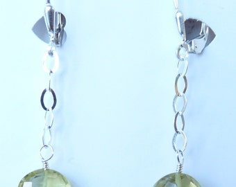 Lemon Quartz Faceted Coin Shaped Gemstone Earrings on Sterling Silver Chain & Ear Wire
