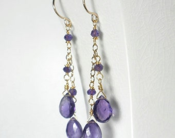 Amethyst Drop Earrings Purple Amethyst Earrings Purple Earrings Purple Cascade Earrings February Birthstone