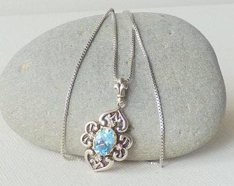 Sterling Silver and 14 K Gold Blue Topaz Pendant Chain Necklace, Vintage Topaz Necklace, Topaz 925, 14 k Topaz, Topaz Jewelry, Blue Topaz