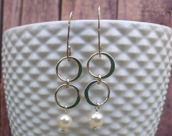 Karen Hill Tribe silver earrings sterling silver circle and swarovski crystal pearl drops