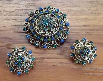 Vintage brooch and earring set // Kramer // demi parure set // signed