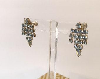 Vintage Blue Rhinestone Dangle 50's Earrings