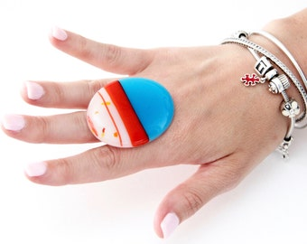 Big Statement Ring Fused Glass  -  boho ring, cocktail ring, adjustable ring, handmade ring, statement jewelry
