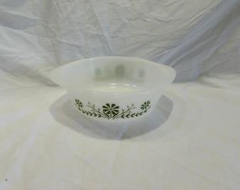 Glassbake, Two Quart Serving Bowl, Casserole Dish, Round, Green Flowers, #J514