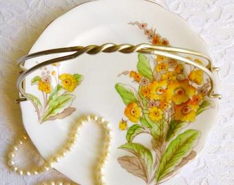 "Vintage Royal Standard 7"" Handled Plate, Spring's Gift, English Bone China. Floral Dessert Plate, Vintage Tea Party, Floral Bone China"