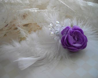 Purple Peach Blush Bridal Wedding Hair Clip Rannunculus Fascinator Crystals Hair Clip Flower Girl Bridesmaids Designed By HandcraftUSA Etsy