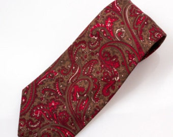 The Red and Brown Paisley Necktie