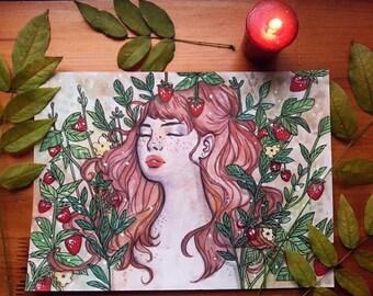 Strawberry Kiss - Original Art - Painting - Watercolour