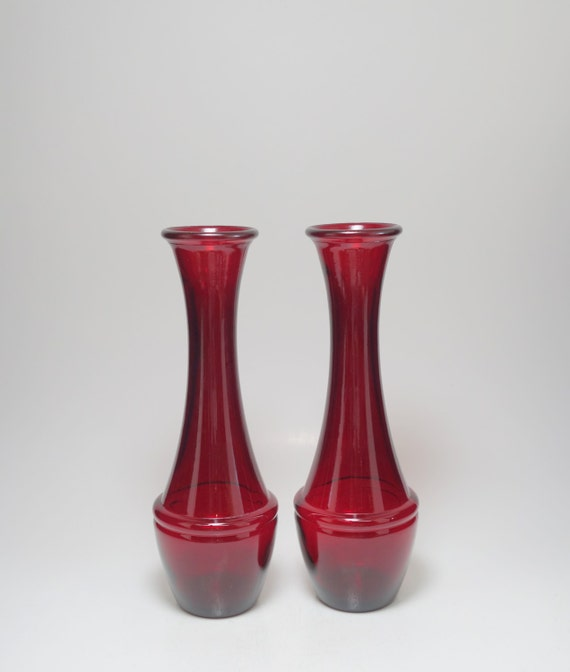 Vintage Pair Of Ruby Red Glass Vases Ruby Red Glass Vases