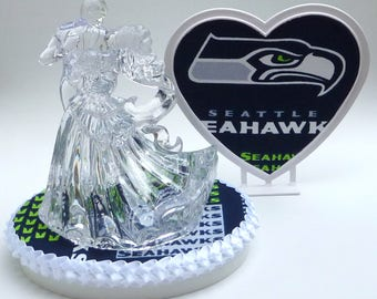 Wedding Cake Topper Seattle Seahawks Football Themed Clear Couple Dancing First Dance Bride Groom's Cake Top Sports Fans Fun Pretty w/Garter