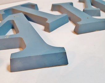 Vintage 7 Inch Plastic Blue Sign Letters Salvage Marquee