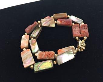 Vintage, Abalone, Double Strand Bracelet, Rectangular Stones