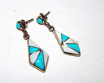 Vintage Zuni Sterling Silver Turquoise Mother Of Pearl Inlay Pierced Dangle Earrings Native American Old Pawn