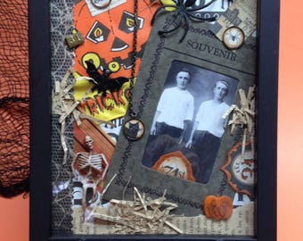 Side Show Souvenir - EHAG, Original OOAK, Halloween mixed media collage, shadow frame, vintage photo copy, ephemera, artist Alycia Matthews