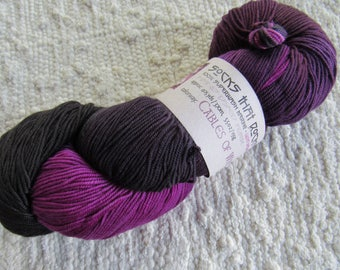 Purple Wool Sock Yarn - Hand Dyed Artisan BMFA Socks That Rock Yarn Colorway CABLES of WRATH 100% Superwash Merino Wool Purple