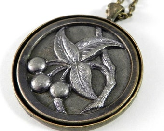 Cherry Fruit ANTIQUE BUTTON Necklace - Victorian Steampunk Jewelry by Compass Rose Design