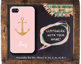 Anchor iPhone Case, Gold iPhone Case, Personalized Nautical iPhone Case, iPhone 8, 8 Plus, iPhone 7, 7 Plus, SE, iPhone 6, 6s, 6 Plus, 5s