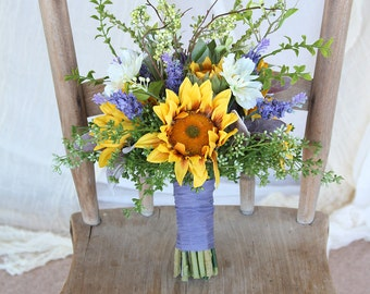Sunflower Wedding Bouquet | Yellow Gold and Lavender Purple | Boho Wispy Wildflower Bouquet | SG-1010