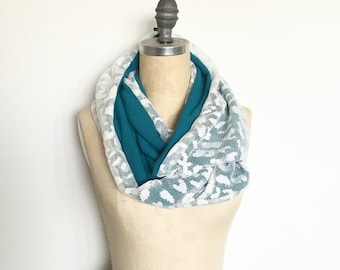 Lace Infinity Scarf in White Lace and Turquoise Knit- Ready to Ship Gift