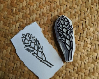 Tropical Flower Handcarved Rubber Stamp, Teuila Flower Stamp, Alpinia Purpurata, Handcarved Stamp, Handmade