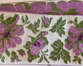 Vintage cotton Jacquard Ribbon Trim Tape~Gorgeous Floral design~Lavender~Dark purple~green~Black~1-15/16""