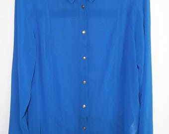 "Vintage ""Limited"" polyester chiffon shirt. Size M  (#EV286)"