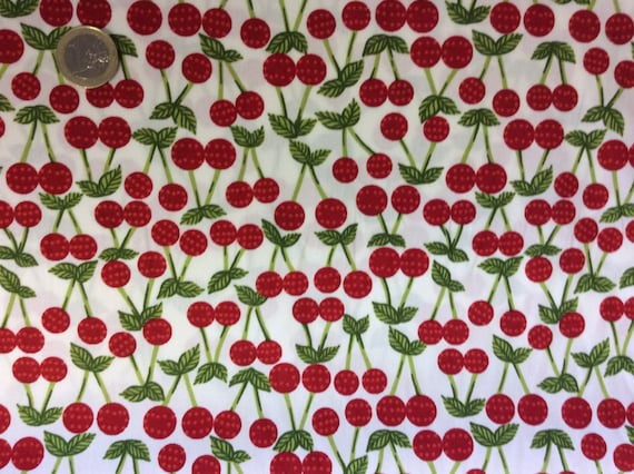 High quality cotton poplin dyed in Japan, cherry print