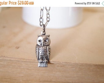 Summer Sale 20%0FF Dainty silver plated brass owl necklace