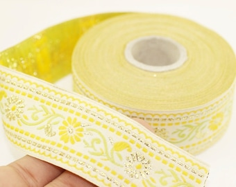 35 mm White & Yellow Floral Jacquard ribbon (1.37 inches), Jacquard trim, Sewing Trim - Collar Trim, Ribbon by the yards, Vintage ribbon