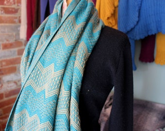 Blue and Gold Alpaca Wool Scarf