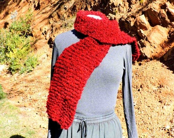 Bright Burgundy Red Chunky Hand Knit Scarf