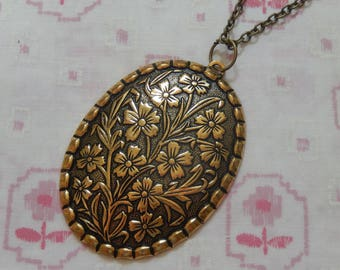 Antique Brass Plated Large Oval Flower Pendant Necklace