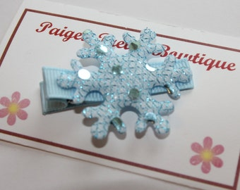 "1.25"" Blue Sparkle Snowflake-Alligator Clip-Toddler Hair Clip"