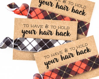 Buffalo Plaid Bachelorette Hair Tie Favors | Red + Black Buffalo Plaid Camping Bachelorette Hair Tie Favor, Flannel Fling Before the Ring