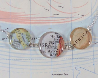 Sterling Silver Map Necklace - The Trio - Special places in the heart