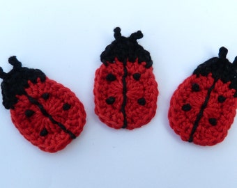 Ladybirds , Crochet applique, 3 small applique ladybugs, cardmaking, scrapbooking, appliques, handmade, sew on patches. embellishments