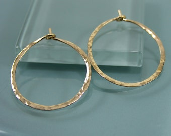 "1"" 14k Gold Filled  Hammered Texture Hoop Earrings"