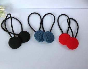 Handmade Fabric Button Hair Ties