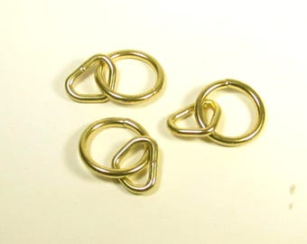 """2"""" Brass O ring and loop, 2 inch brass plate round ring with loop"""