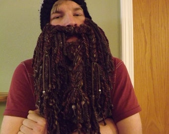 Long bearded crochet hat.