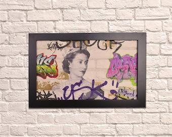 Industrial Queen Graffiti Black Frame Brick Wall Graffiti Style Artwork Graffiti Art Steampunk & 3D Ceramic Brick Panels and Framed. UK MADE
