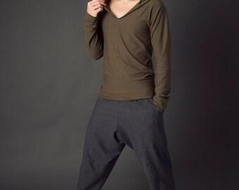 Mock Henley, V Neck, Men's Long Sleeve, Men's Pullover, Men's Yoga Wear, Men's Top, Burner Wear, Burning Man, Hemp Clothing