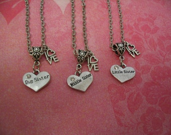 Three Sisters Heart Necklaces Big Sister Middle Sister Little Sister I Love You Gift