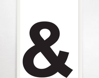Ampersand, Typography, Minimalist Art, Typography Art Print, Modern Wall Art, Monochrome, Black and White, Poster, Graphic Design, Art Print