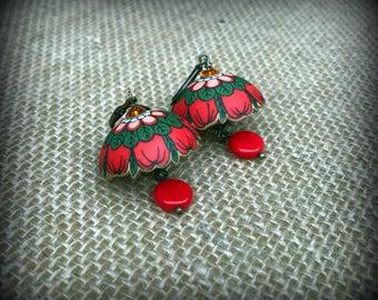 Red Round Earrings - Red and Green Earrings - Red Dome Earrings - Domed Earrings - Puffy Earrings - Christmas Earrings - Flower Earrings
